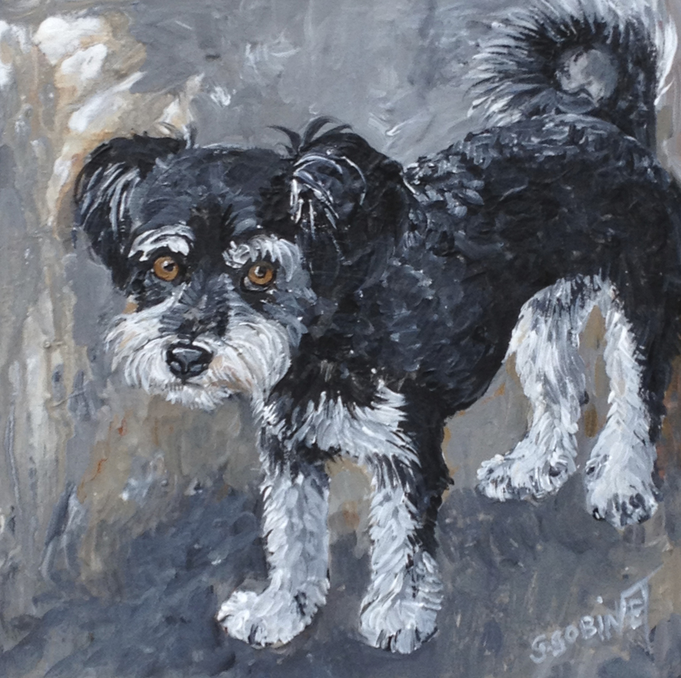 "Coco. Acrylic on wood 10x10""   25.4x25.4cm"
