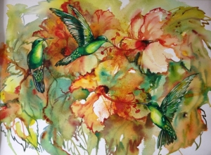 Humming birds & hibiscus