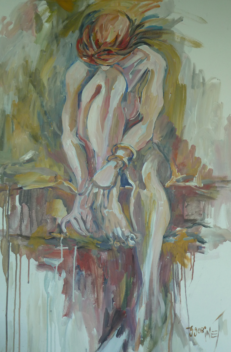 "Sitting nude 1. Acrylic on canvas 24x36""  345x61cm AN05"