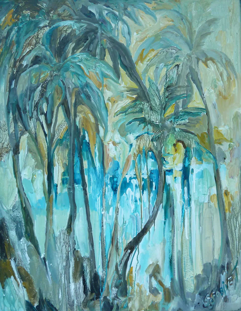"Teal Palms. Acrylic on board 24x36""  61x91.4cm AB06"