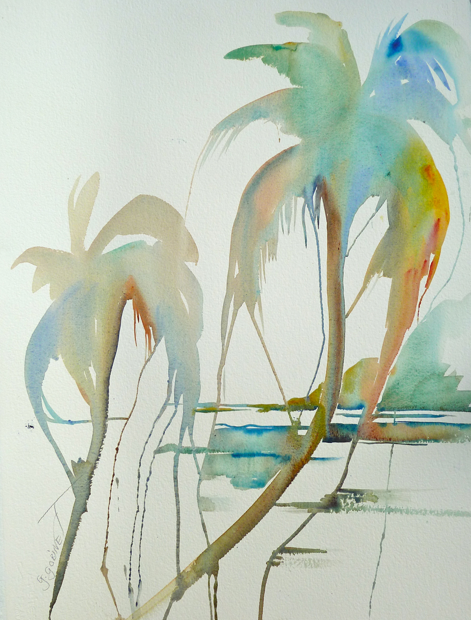 "Orange Palm Leaf. Watercolour/Arches Deckle Edges 22x30""  56x76cm 300lb/650gm DW04"