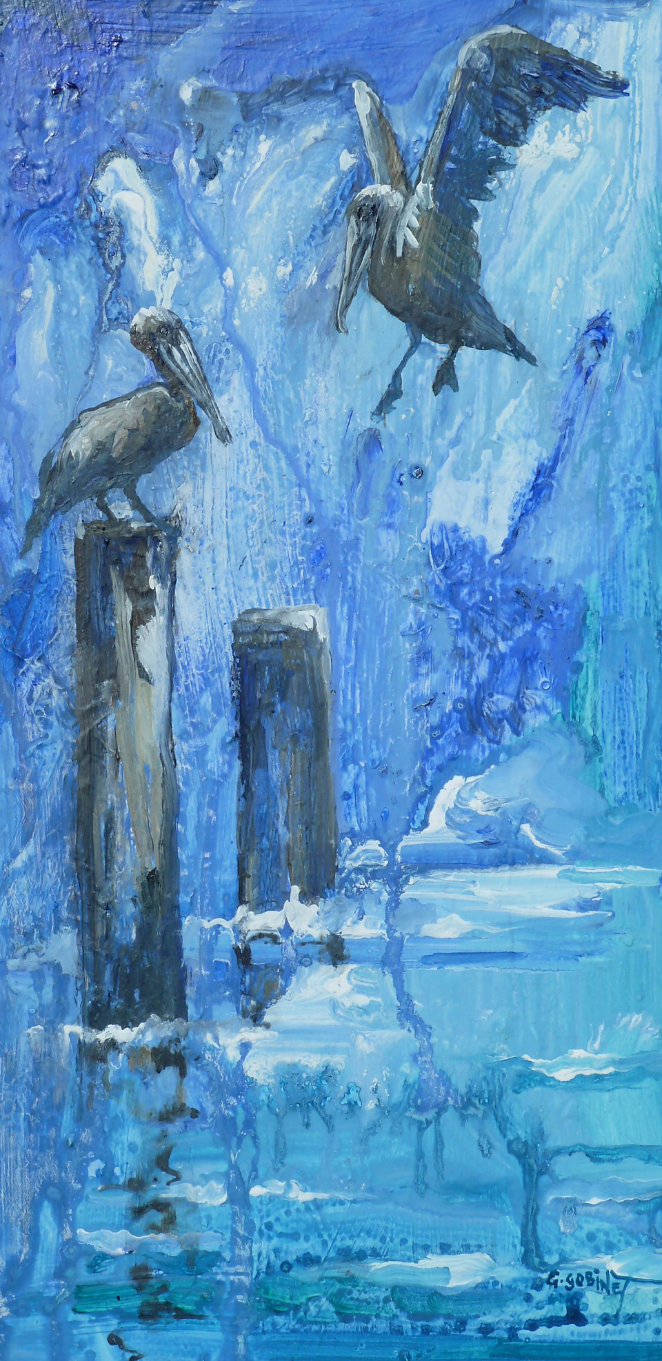 "Brown Pelicans. Acrylic on wood 10x20""  25.4x50.8cm LAW01"