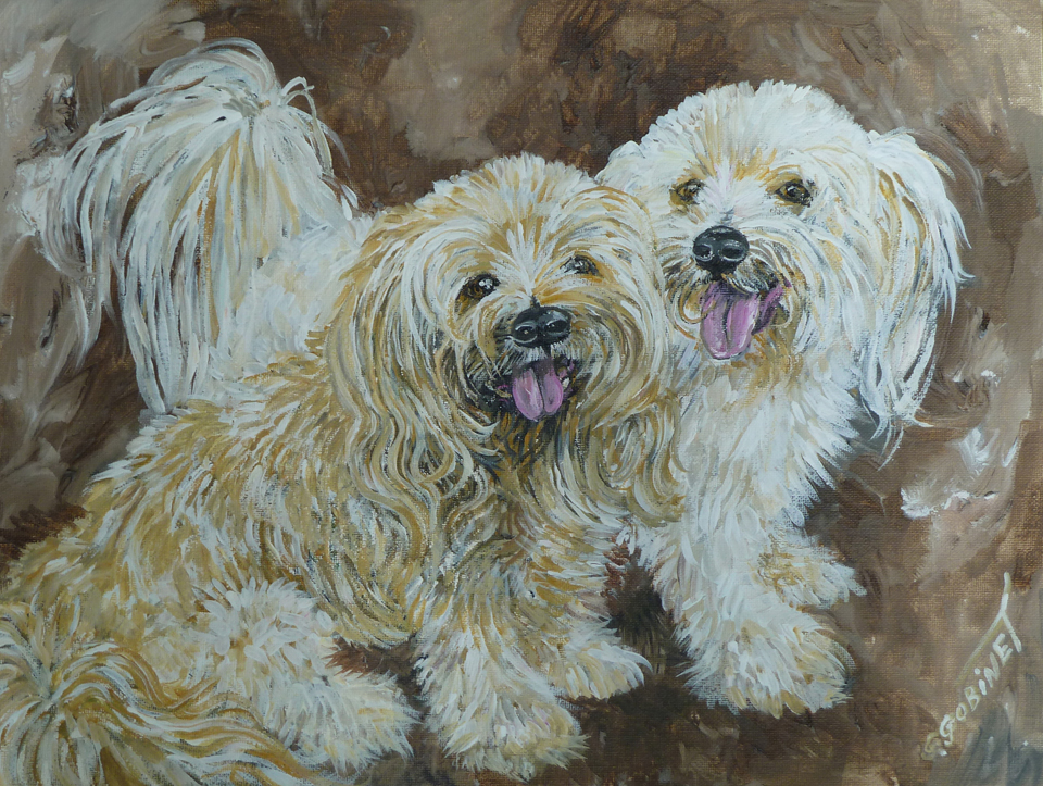 "Oscar & Felix. Acrylic on canvas panel 16x12""   40.5x30.5cm"