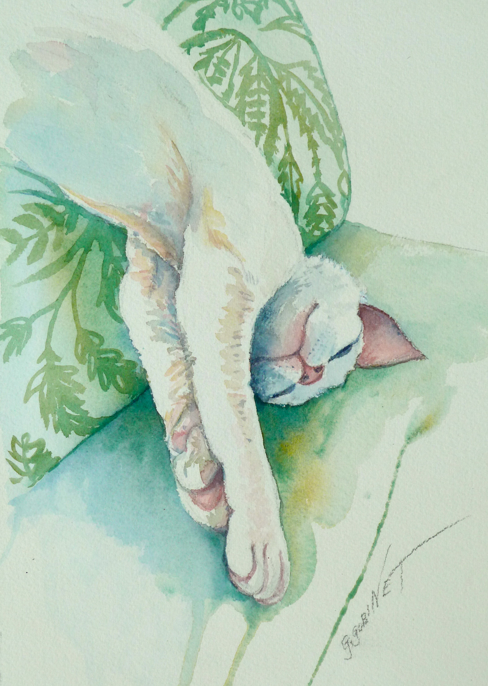 "Biscuit dozing... Watercolour/Arches 6x8""      15.2x20.2cm 140lb/300gm"