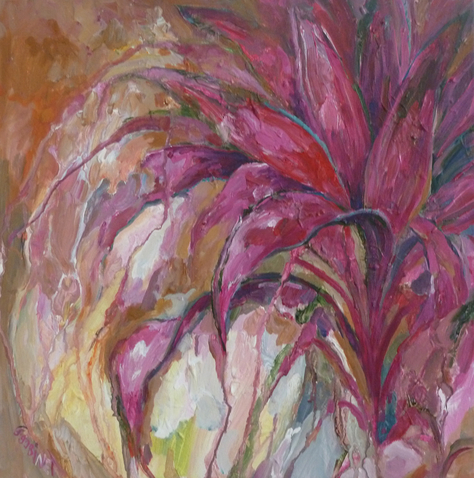 "Cordyline. Acrylic on canvas 15x30""  45.7x45.7cm AC09"