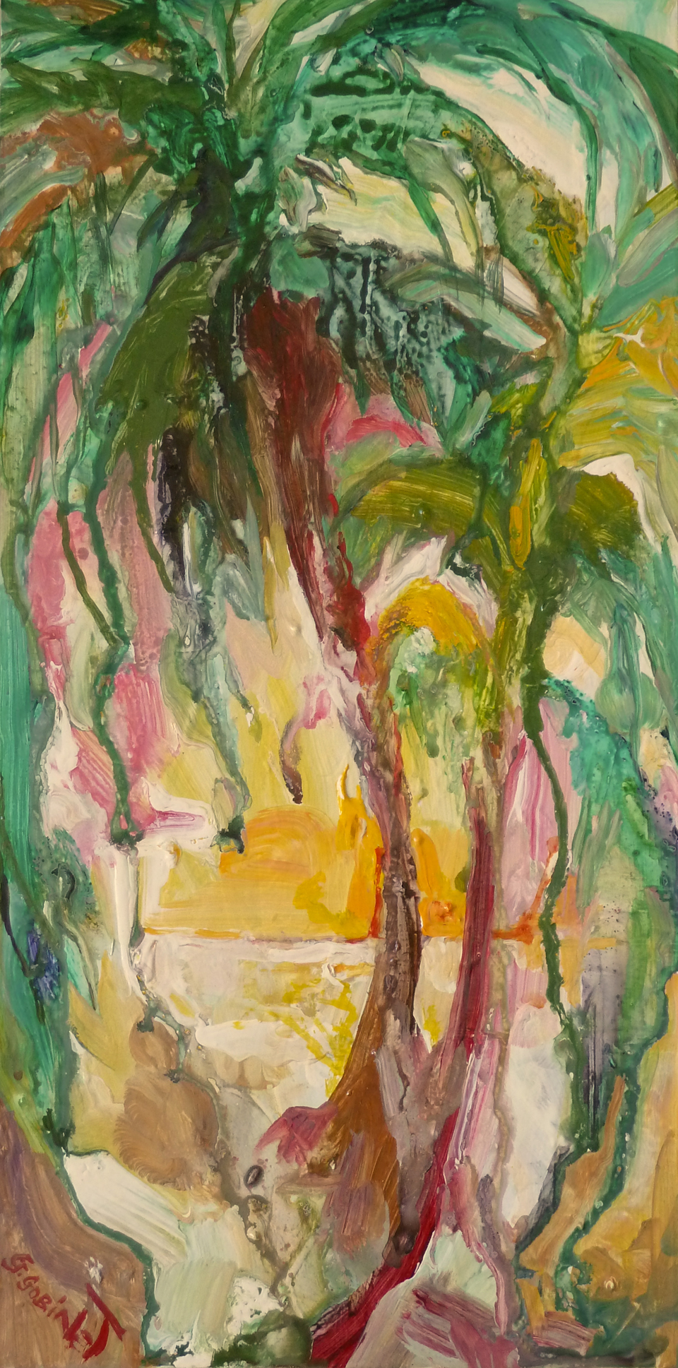 "Palms at sunset. Acrylic on wood 10x20""  25.4x50.8cm LAW03"