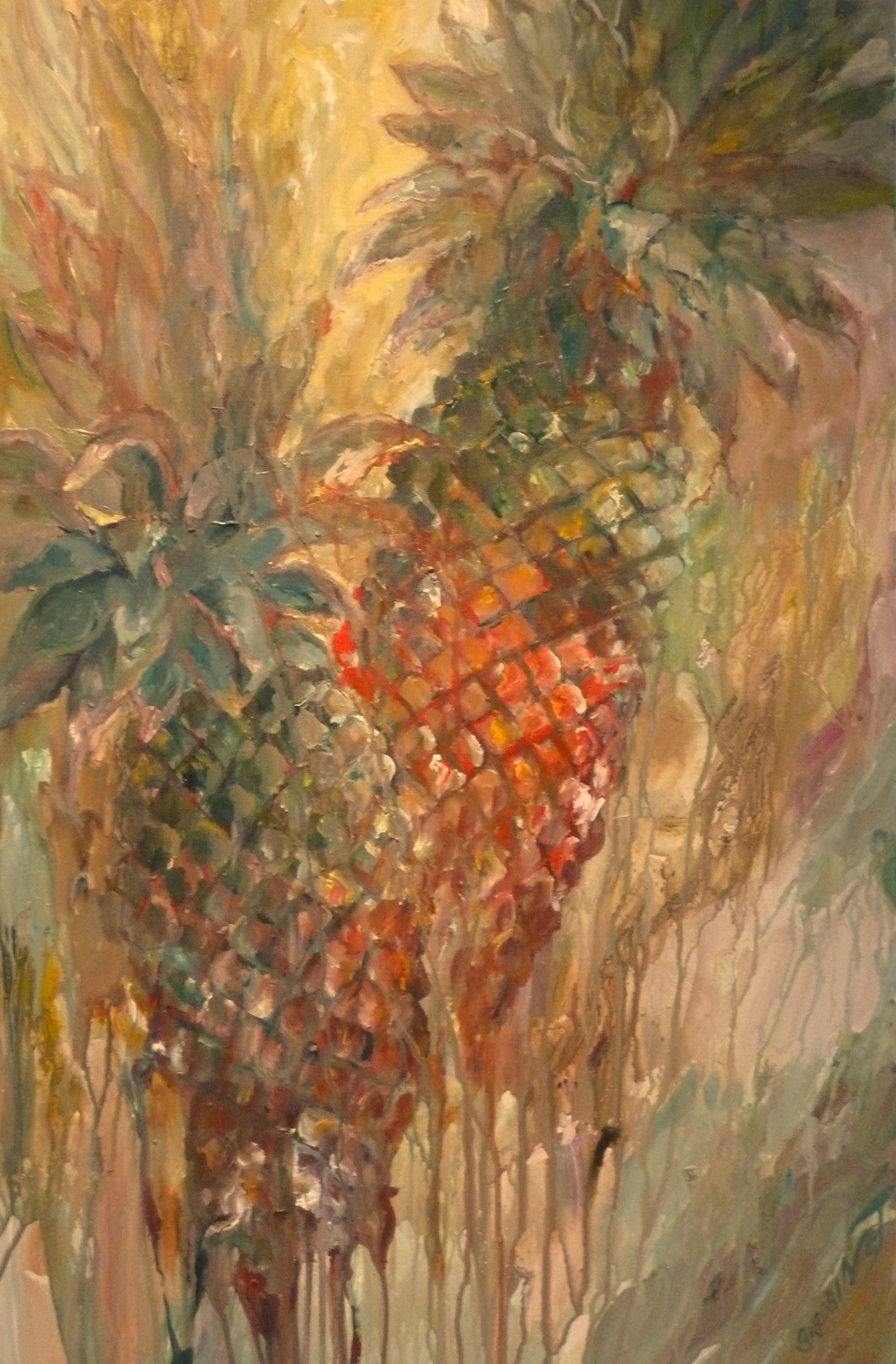 "Scarlet Pineapples. Acrylic on canvas 24x36""  61x91.4cm AC05"