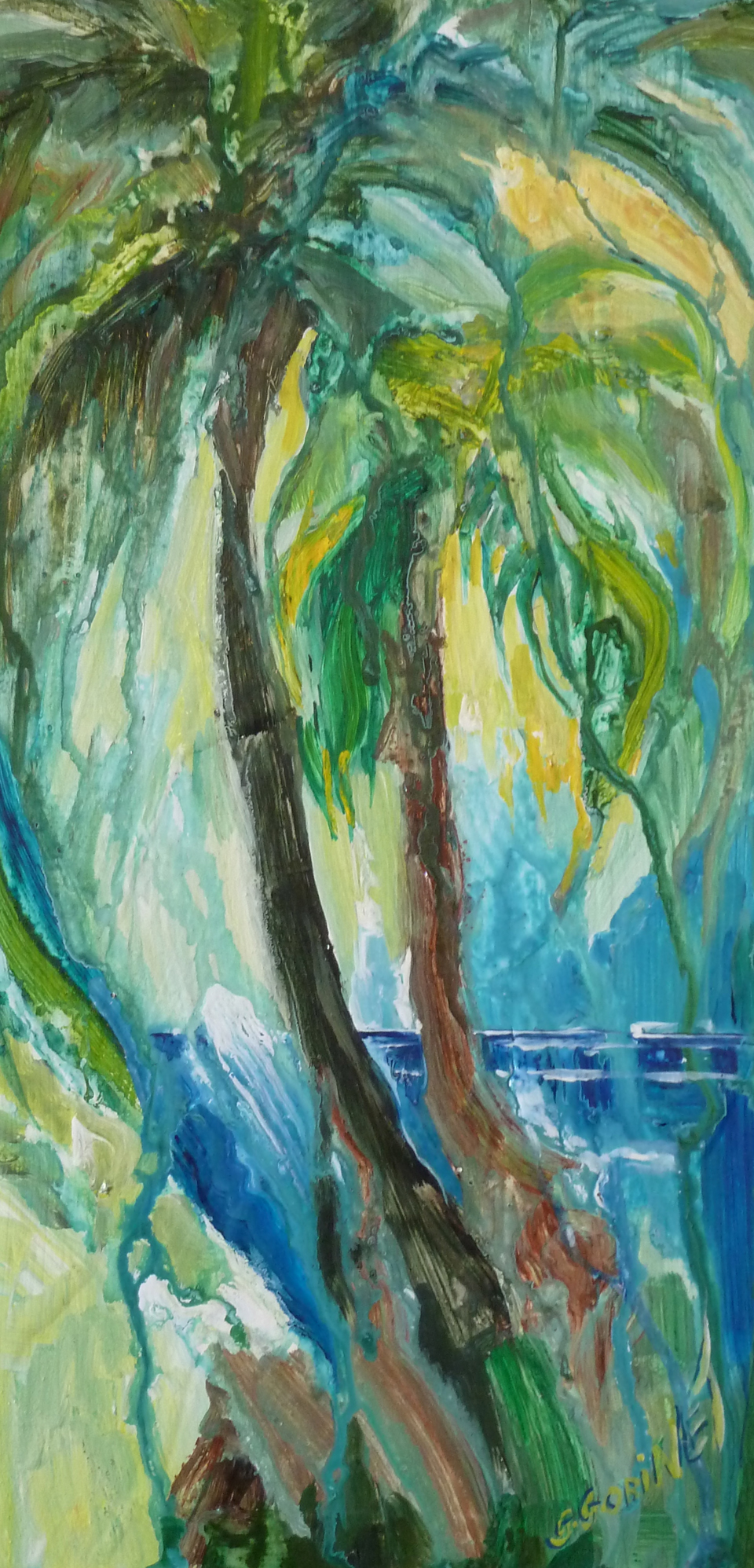 "Green palms. Acrylic on wood 10x20""  25.4x50.8cm LAW12"