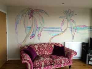 Caribbean mural with the door closed and Anji's gorgeous sofa!