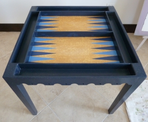 Blue backgammon board