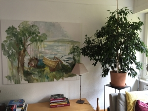 The boatyard painting hanging in my brother's apartment