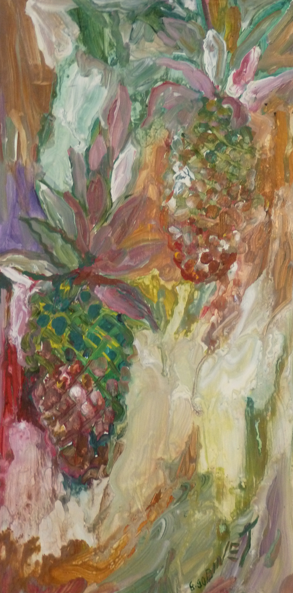 """Red Pineapples. Acrylic on wood 10x20""""  25.4x50.8cm LAW13"""